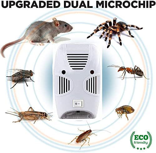 HNESS Electronic Home Pest Rodent Repelling Aid For Mosquito Cockroaches Ants Spider Insect Pest Control Electric Pest Repelling Aid Magnetic Ultrasonic Indoor Rat Sensor