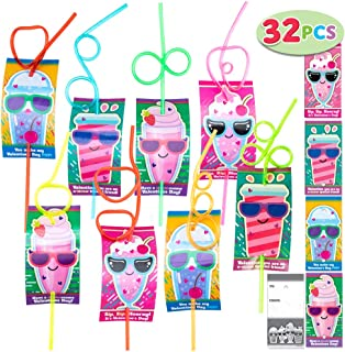 JOYIN 32 Pack Cards with Gift Colorful Crazy Loop Reusable Drinking Straws for Classroom Exchange Prizes, Valentine Party ...