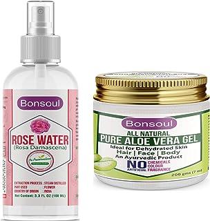 BONSOUL PURE ROSE WATER & ALL NATURAL ALOE VERA GEL (100 ML RW + 200 GMS ALOE)