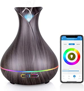 WiFi Essential Oil Diffuser, Maxcio 400ml Smart Aromatherapy Diffuser, Ultrasonic Humidifier with Colorful LED Lights, Smart Phone Remote Control, Alexa&Google Home Compatible, Timer/Schedule Setting