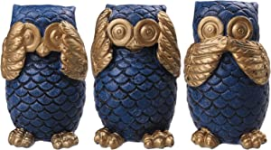 IBEUTES 3 Inch Owl Statue Decor, 3 Pack Owl Figurines for Home Decor Accents, Living Room Bedroom Office Decoration, Book Shelf TV Stand Decor - Animal Sculptures Collection BFF Gifts for Birds Lovers