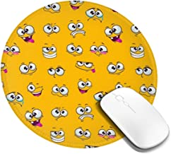 Funny Expression Cartoon Smiley Faces Round Mouse Pads Gaming Circular Mouse Mat Diameter for PC Computers Laptop Keyboard 200mm X 200mm X 3mm