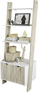 comprar comparacion SoBuy Estanterías Librerias, Biblioteca de Almacenamiento en Rack 4 Estantes con 1 Armario Moderno, FRG110-WN, ES
