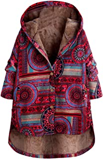 aihihe Womens Vintage Plus Size Winter Warm Coats Jackets, Fleece Thick Hooded Coats Casual Floral Print Parka
