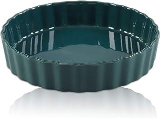 Ceramic Pie Dish, 9 inch Porcelain Pie Pan, Round Baking Dish, non-stick Oven Freezer and Dishwasher Safe for Dinner Pumpk...