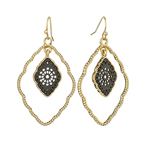 04d34df30973f Women s Metal Oval with Hollow Mini Filigree Dangle Pierced Earrings