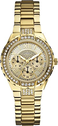 GUESS Womens W0111L2 Sparkling Hi-Energy Mid-Size Gold-Tone Watch