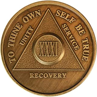 31 Year Bronze AA (Alcoholics Anonymous) - Sober / Sobriety / Birthday / Anniversary / Recovery / Medallion / Coin / Chip