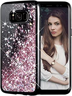 Galaxy S8 Plus Case, Caka Galaxy S8 Plus Glitter Case Starry Night Series Luxury Fashion Bling Flowing Liquid Floating Sparkle Glitter Girly Soft TPU Case for Samsung Galaxy S8 Plus (Rose Gold)