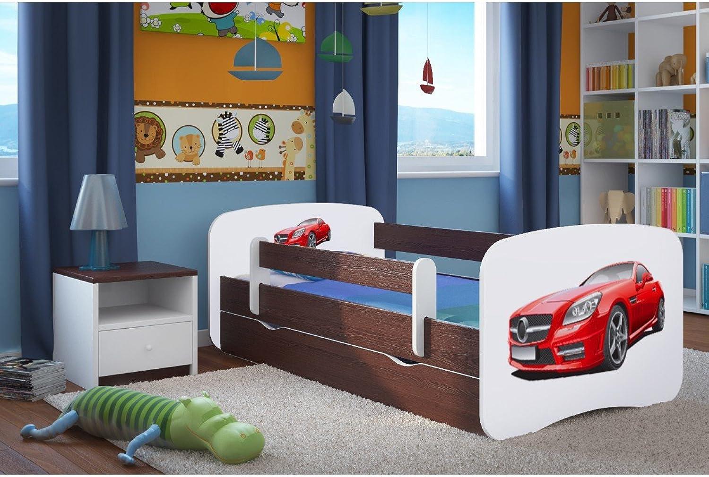 CARELLIA 'Kinderbett Mercedes 80x 180cm mit Barriere Sicherheitsschuhe + Lattenrost + Schubladen + Matratze Offert.–Wenge