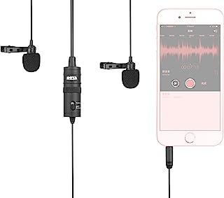 Boya Universal M1DM Dual Lavalier Mikrofon mit einem 1/8 Stereo Anschluss für Smartphone DSLR Camears Camcorder
