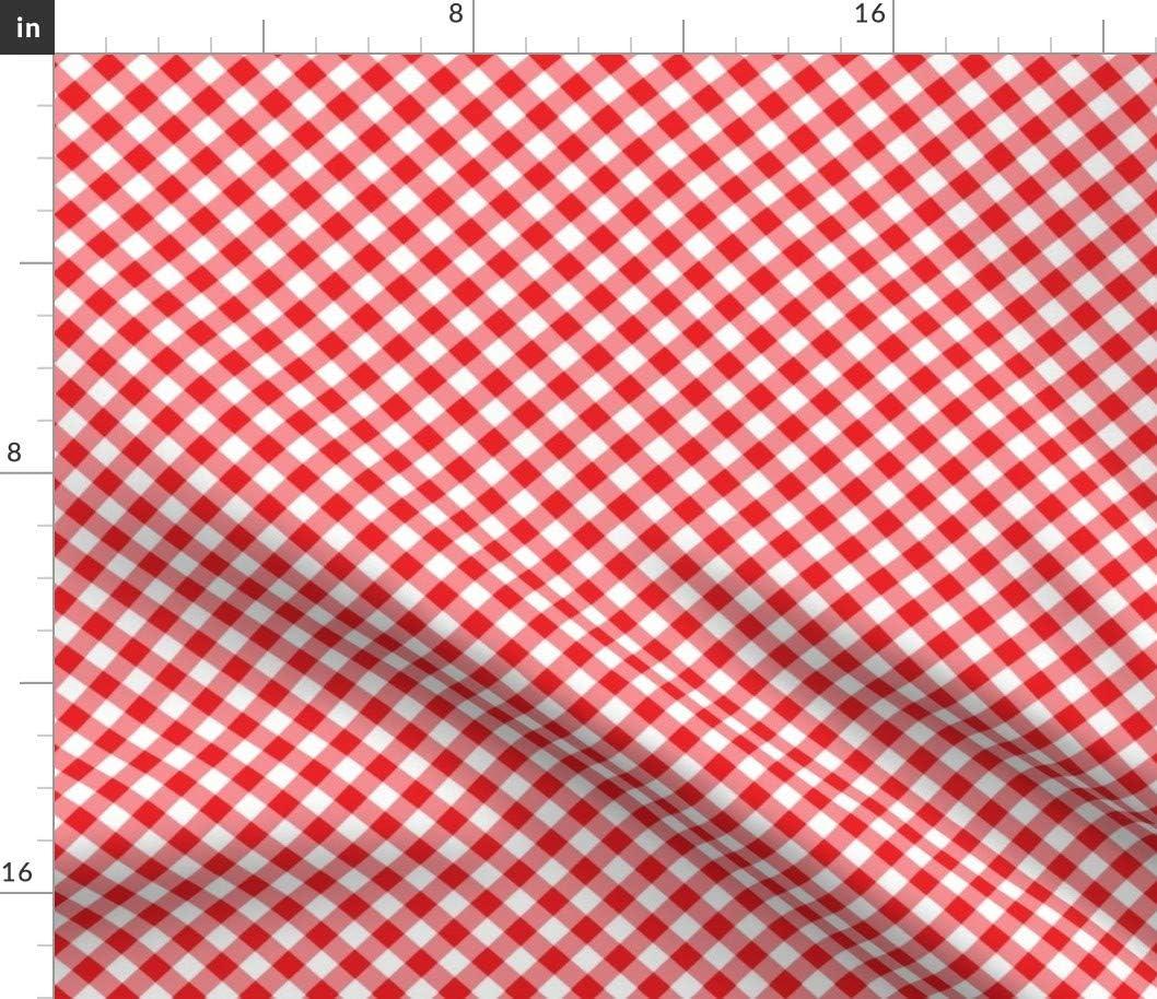 Spoonflower Fabric - Red Gingham Printed Fa Velvet on San Antonio Super intense SALE Mall Upholstery