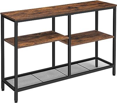 HOOBRO Table Console, Table d'appoint, Table d'entrée, Bout de Canapé, 110 x 28 x 75 cm, Cadre en Métal, pour Salon, Bureau à Domicile, Marron Rustique EBF28XG01
