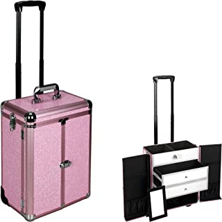 Justcase E6306 Professional Makeup Cosmetic Rolling Train Case Organizer Storage With 2 Large Drawers, Mirror and French Door Style Front Panel, Krystal Pink