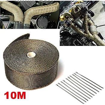 pour Tuyeau Collecteur Echappement Argent Ruban de protection thermique Bande Isolant Thermique daluminium PE