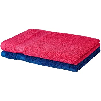 Amazon Brand - Solimo 100% Cotton 2 Piece Hand Towel Set, 500 GSM (Paradise Pink and Iris Blue)