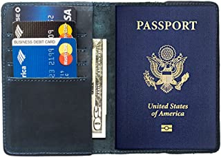 Durable Leather Passport Holder Handmade by Hide & Drink :: Slate Blue