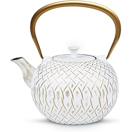Tea Kettle, Toptier Japanese Cast Iron Tea Kettle for Stove Top, Stovetop Safe Teapot with Infusers for Loose Tea, 34 Ounce (1000 ml), White Melody