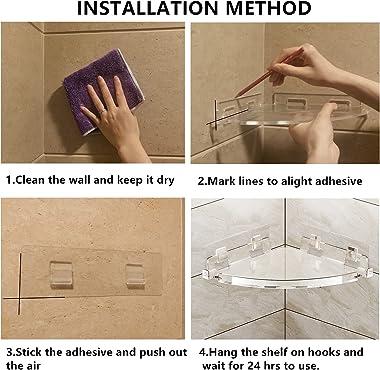 JiePai Acrylic Corner Shower Caddy Shelf 2 pack with Hooks, Adhesive Wall Mounted Bathroom Shelf Organizer Shower Holder No D