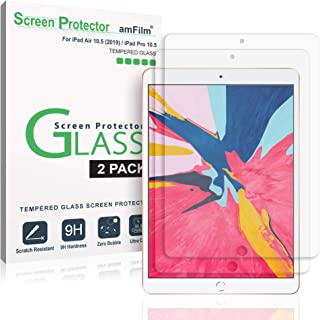 amFilm Glass Screen Protector for iPad Air 3 (2019) 10.5 inch, iPad Pro 10.5 (2017) (2 Pack) Tempered Glass, Apple Pencil Compatible