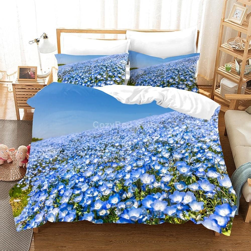 Duvet Cover Twin Online limited product Blue Flower Ultra Cov Microfiber Soft Overseas parallel import regular item Comforter