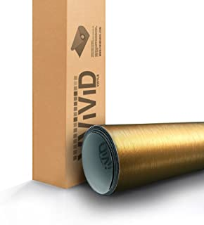 VViViD Gold Brushed Metal 5 Foot x 1 Foot Vinyl Wrap Roll with Air Release Technology