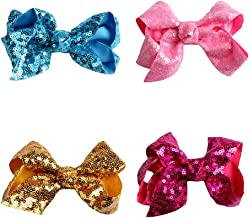 Scrunchies Metallic Elastic Sequin Hair Ties,Sequins Bow Hairpin Ornaments For Baby Girls Toddler Kids and Woman