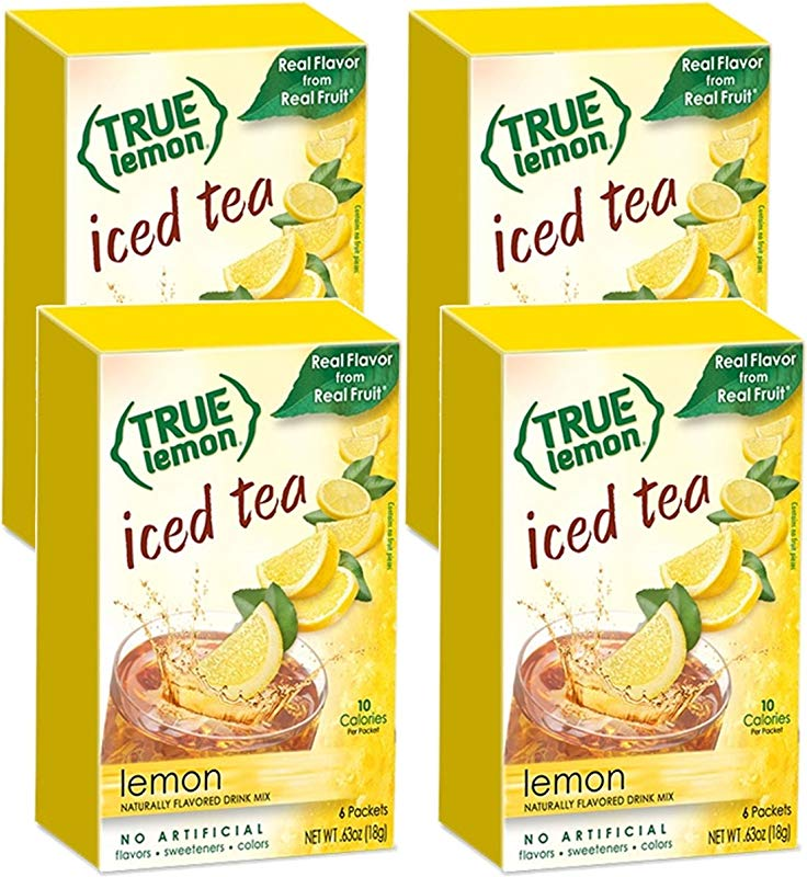 LEMON ICED TEA MIX By TRUE LEMON Instant Powdered Drink Packets That Quench YOUR Thirst Kit Includes 4 Boxes 24ct Of Mouth Watering True Citrus LEMON ICED TEA