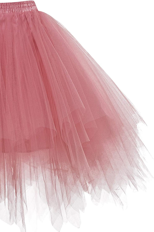 HomRain Tüllrock Damen 50er Rockabilly Petticoat Tutu Unterrock Halloween Cosplay Kurz Ballet Firt Tullet Ballkleid Zubehör Fasching Underskirt Blush