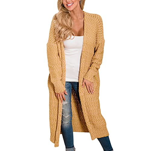 4c3fb4dd53 Happy Sailed Womens Open Front Knit Long Cardigan with Pockets