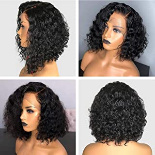 Halo Lady Deep Wave Bob Lace Front Wig Human Hair 13x4 Brazilian Short bob wigs for black women Real Virgin Hair Wigs Pre Plucked (12 inch)