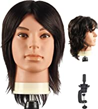 Male Mannequin Head With 100% Human Hair Cosmetology Manikin head for Cutting Styling With Doll Head for Hair Styling with Clamp Stand