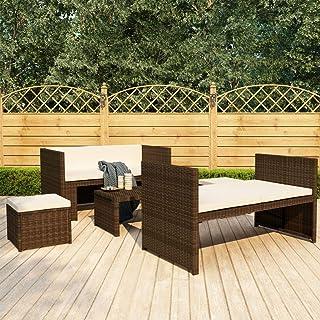 Benkeg Set Muebles de Jardín 5 Piezas y Cojines Ratán Sintético marrón y cojín Blanco Crema, Conjunto de Comedor de Ratán Conjunto de Muebles de Jardín Conjunto de Sofás de Jardín de Ratán