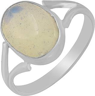 DzineTrendz Silver Plated Moonstone Good Luck Finger Ring Men Women