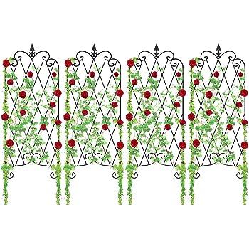 "Amagabeli 4 Pack Garden Trellis for Climbing Plants 47"" x 16"" Rustproof Sturdy Black Iron Trellis for Potted Plants Support Lattice Metal Trellises for Climbing Rose Vine Flower Cucumber Clematis GT01"