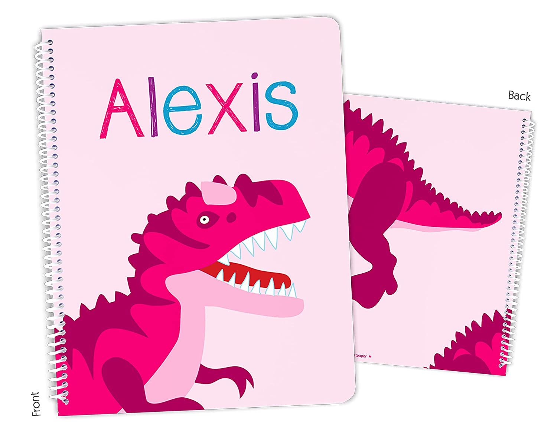 Personalized Dinosaur Dino T-Rex Seattle Mall Pink Bound Rare Notebook Spiral Sket