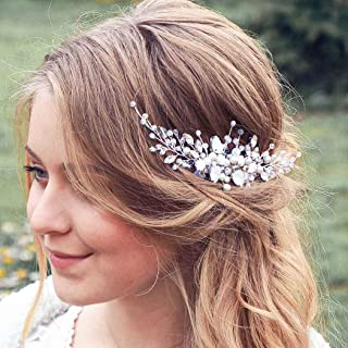 Barode Bride Wedding Hair Comb Opal Rhinestone Hairpiece Pearl Crystal Hair Accessories Jewelry for Women and Girls