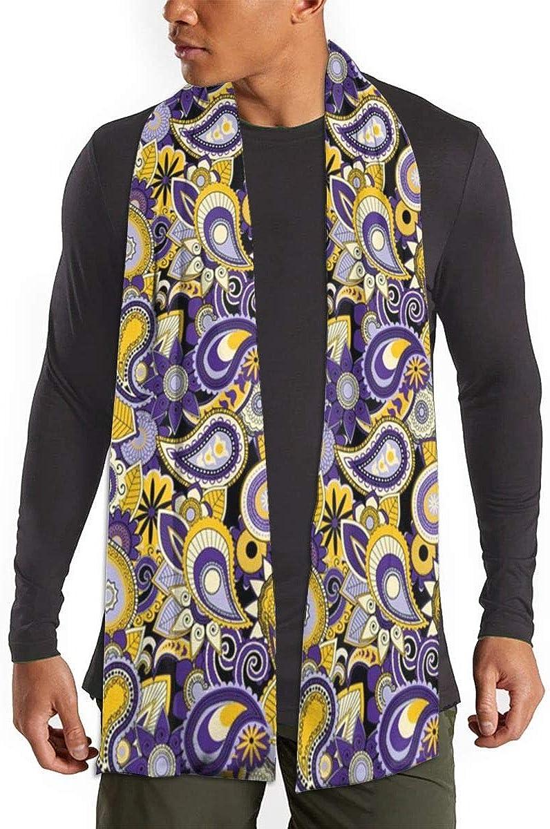 Purple Yellow Paisley Scarfs – Imported Lightweight Neckwear Blanket Wrap Winter Shawl