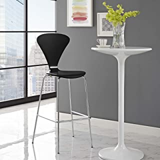 Modway Passage Mid-Century Modern Bar Stool with Chrome Legs in Black