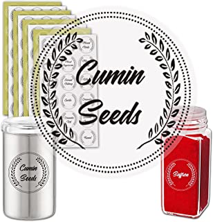 Premify White & Black Spice Labels Preprinted, 144 Waterproof Spice Labels Stickers for Kitchen Organization Label Sticker...