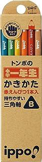 トンボ鉛筆 ippo! 小学一年生かきかたえんぴつ B 三角軸 MP-SENN02-B ナチュラルNN02