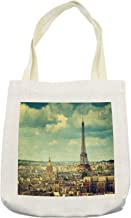Ambesonne Eiffel Tower Tote Bag, Europe Famous Building Cityscape Paris France Aerial View Urban, Cloth Linen Reusable Bag for Shopping Books Beach and More, 16.5