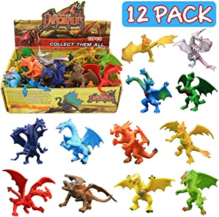 ValeforToy Dragon Toys,12 Piece Assorted Realistic Looking Dragon Figure,4 Inch Mini Dragons Sets with Gift Box, Non-Toxic Safety Materials ABS Vinyl Plastic Dragon,Party Favors Toy for Boys Kids