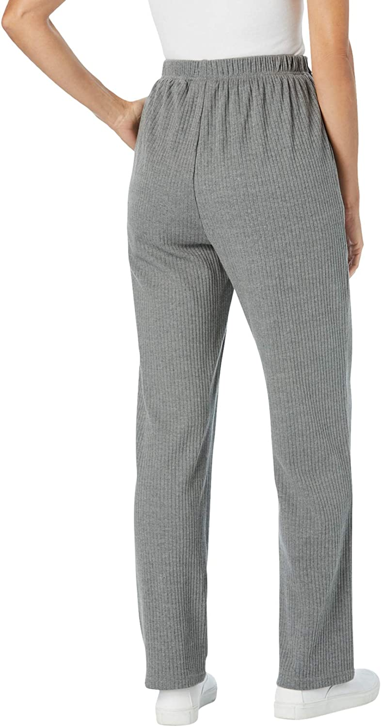 Woman Within Women's Plus Size 7-Day Knit Ribbed Straight Leg Pant