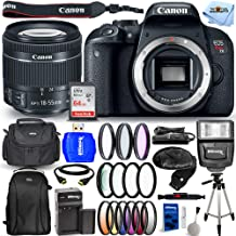$769 » Canon EOS Rebel T7i DSLR Camera with 3-Inch LCD, Black (1894C002) - Ultimate Bundle Includes: Extra Battery and Charger, Ultra 64GB SD, Backpack, Tripod, Flash, 6PC Graduated Filter Kit and Much More