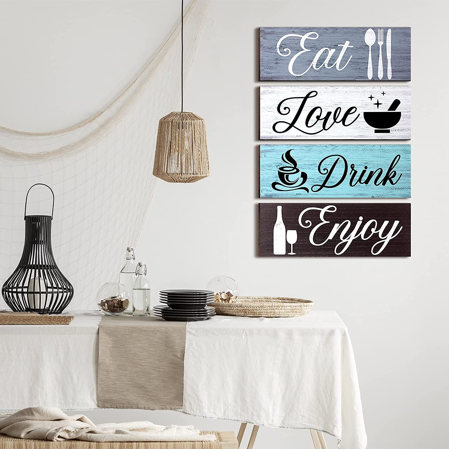 9 Pieces Wood Home Sign Rustic Wooden Kitchen Wall Decor Farmhouse Eat Love  Enjoy Wood Sign with Hanging Hole for Home Kitchen Dining Living Room Bar  ...