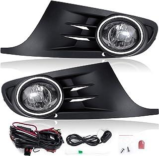 RP Remarkable Power, Fits For 2010 2011 2012 2013 2014 MK6 Golf/TDI Jetta Sportwagen Chrome Black Bezel Fog Light Kits Included Switch Wiring, with 9006 12v 55w Bulbs FL7113