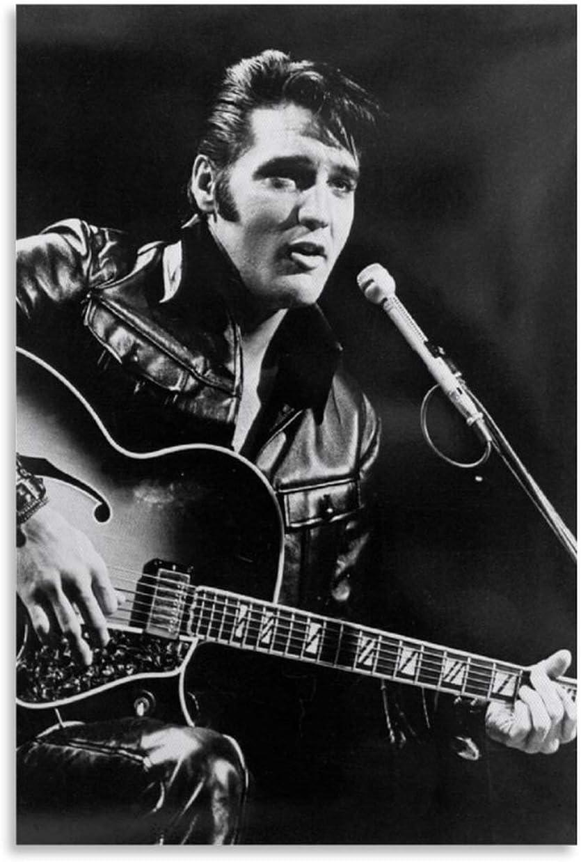 ZXCDS Póster de Elvis Presley con guitarra, cuadro decorativo, lienzo de pared, sala de estar, póster, dormitorio, 30 x 45 cm