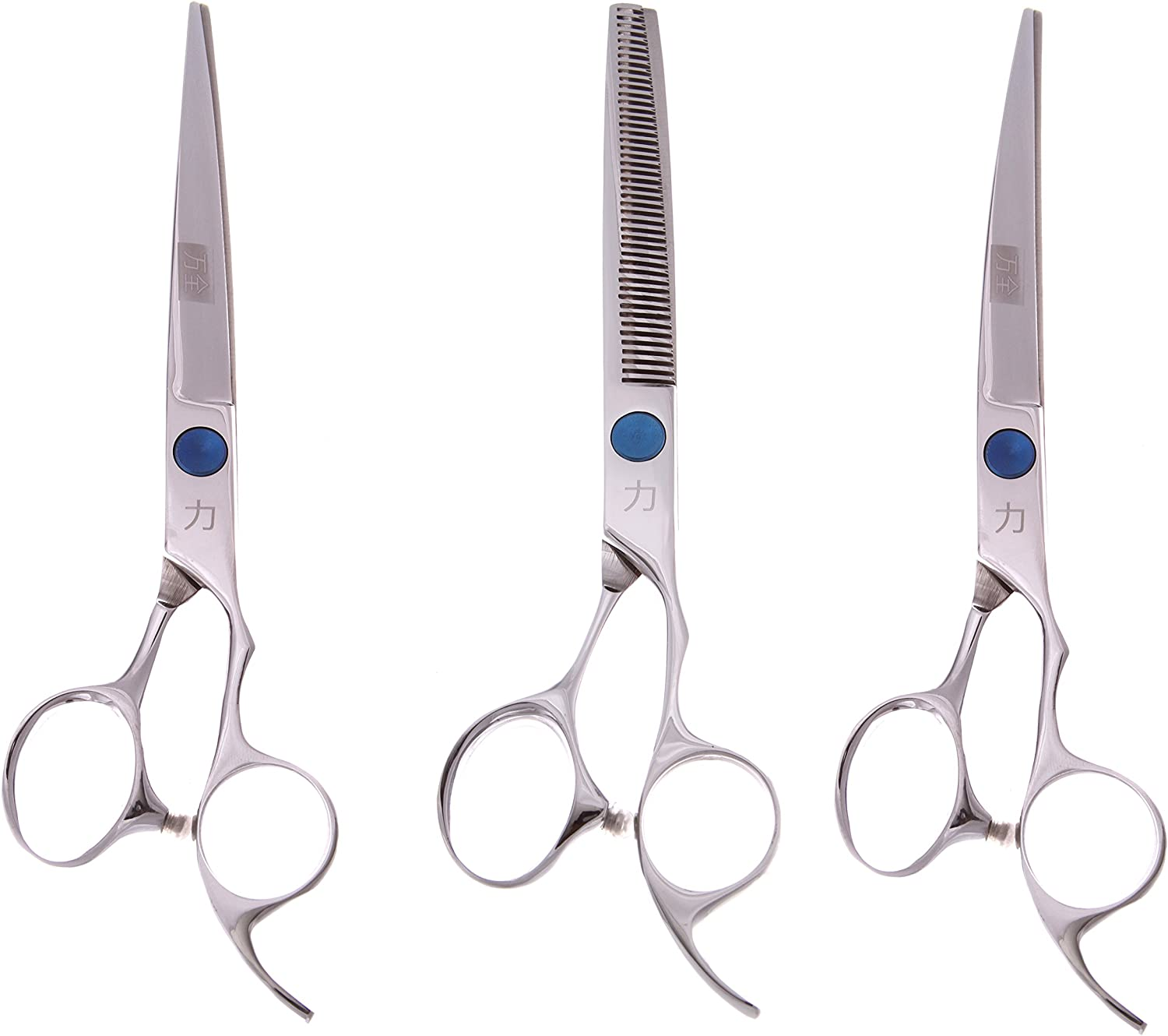 ShearsDirect 3Piece Cutting Shear Set, Includes 8.0Inch Straight, 8.0Inch Curved and 7.0Inch 58 Teeth Blender