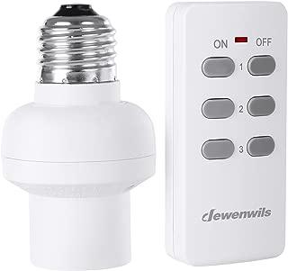 DEWENWILS Remote Control Light Lamp Socket E26/E27 Bulb Base, Wireless Light Switch Kit, White (Expandable, HRLSXXA Series)
